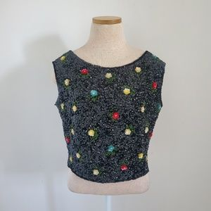 House Of Gold Vintage Beaded Sequin Floral Top